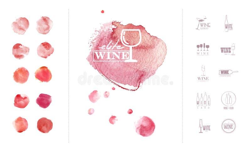 Modello di logo del vino con la raccolta dei contesti variopinti dell'acquerello disegnato a mano illustrazione di stock