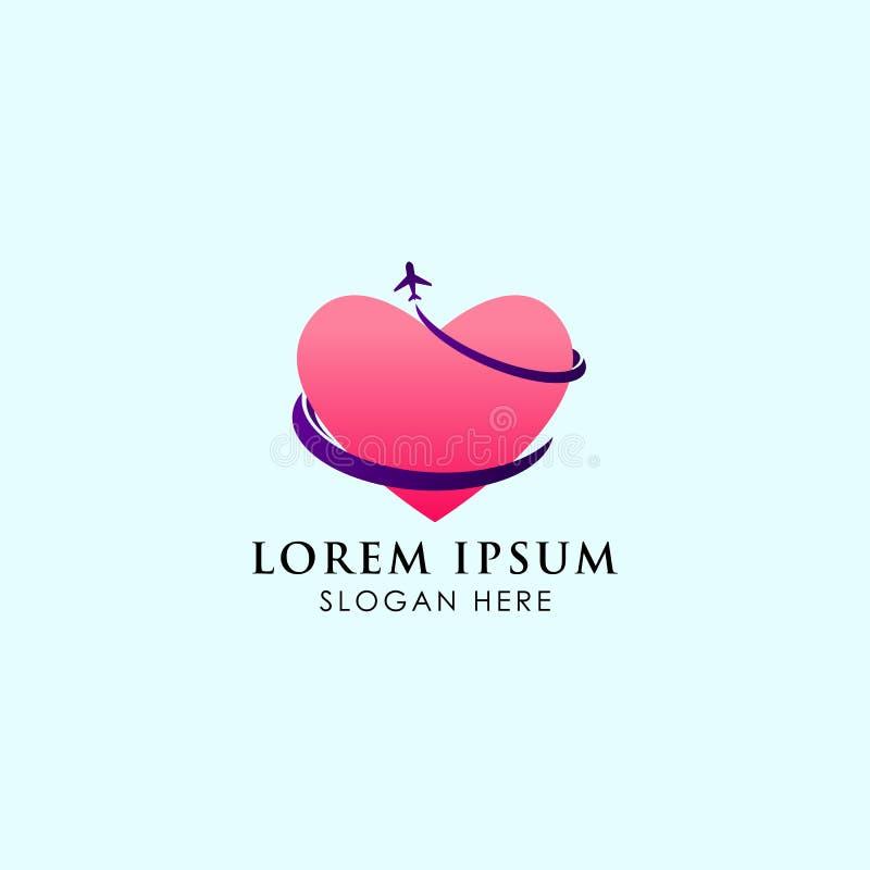 Modello di logo dell'agenzia di viaggi, con cuore e la pista royalty illustrazione gratis