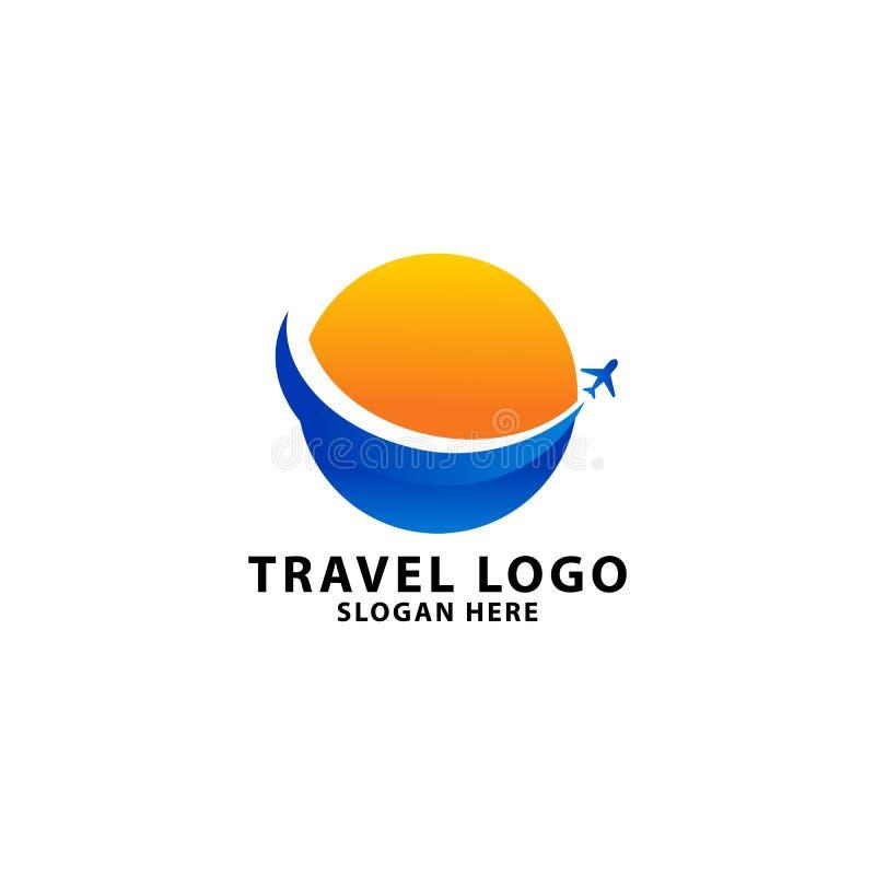 Modello di logo dell'agenzia di viaggi, con il concetto del cerchio illustrazione di stock