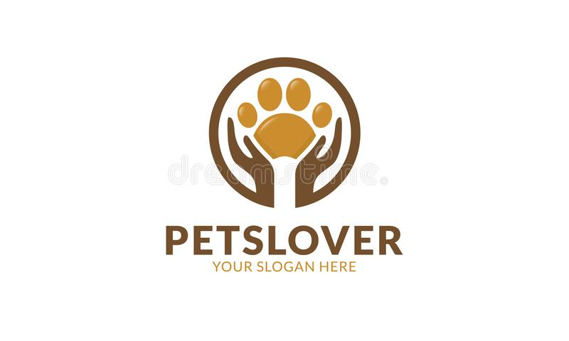 Modello di logo dell'amante degli animali domestici illustrazione di stock