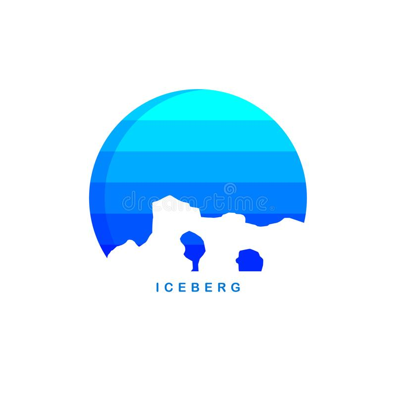 Modello di logo dell'iceberg di ghiaccio di tema dell'Antartide illustrazione di stock