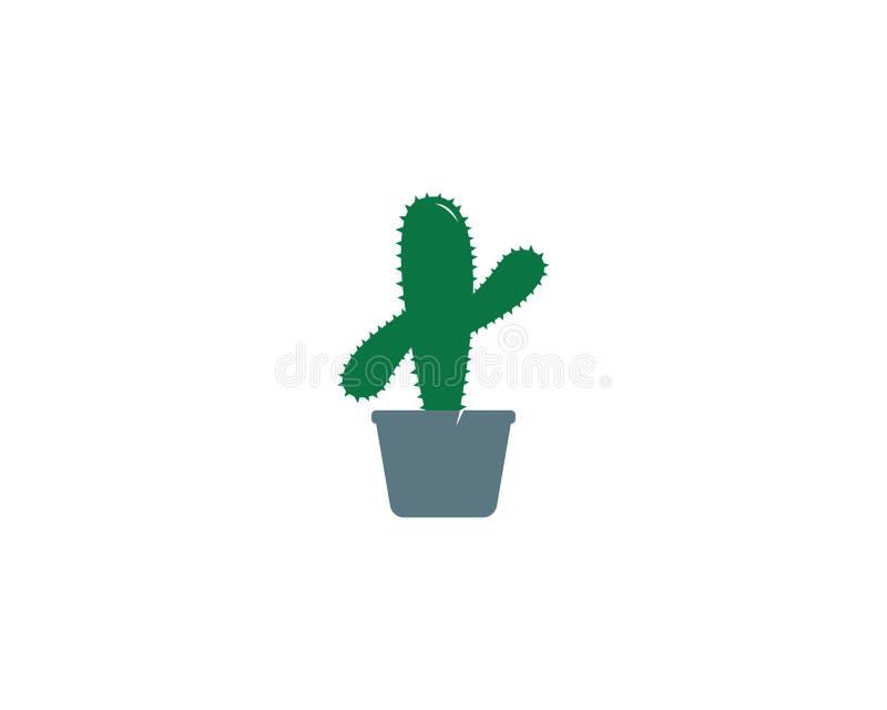 Modello di logo dell'icona del cactus illustrazione di stock