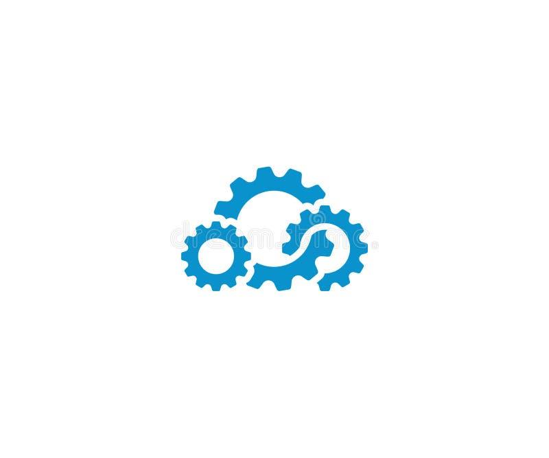 Modello di logo dell'ingranaggio della nuvola Progettazione di calcolo di vettore della nuvola illustrazione di stock
