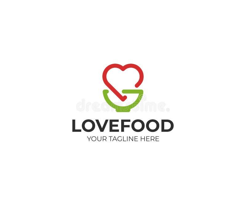 Modello di logo della ciotola e del cuore Progettazione di vettore di simbolo di amore e dell'articolo da cucina royalty illustrazione gratis