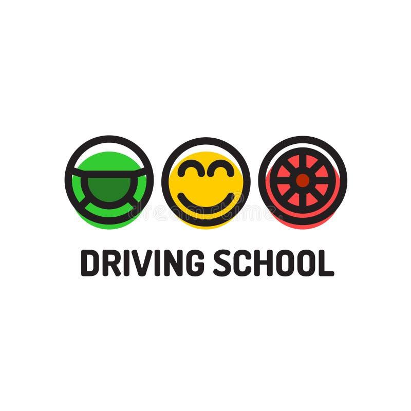Modello di logo della scuola guida Simboli della ruota motrice, sorridenti royalty illustrazione gratis
