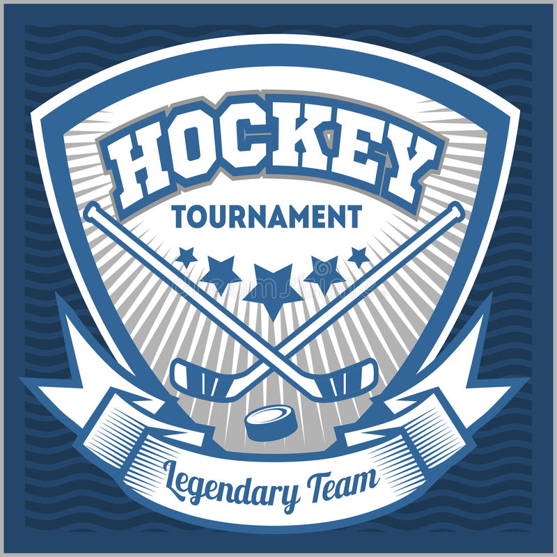 Modello di logo della squadra di hockey Emblema, logotype illustrazione di stock
