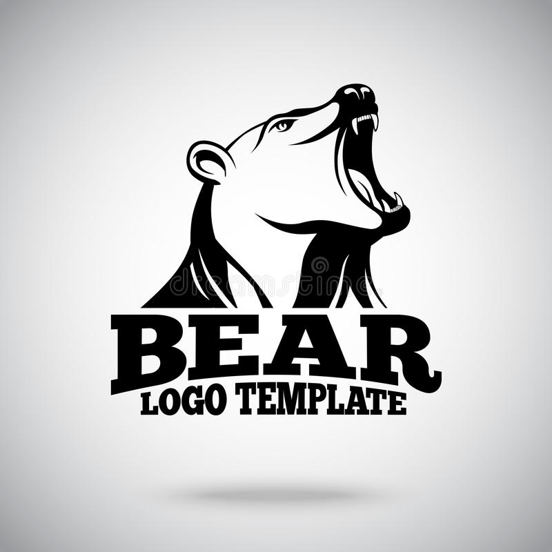 Modello di logo di vettore con l'orso di urlo per gli sport di squadra, le marche ecc illustrazione di stock