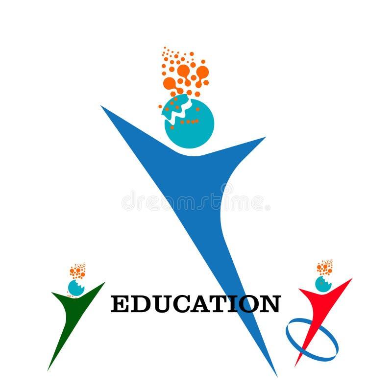 Modello di logo di istruzione con il modello di vettore di progettazione della siluetta di logo del cervello Pensi il concetto di illustrazione di stock