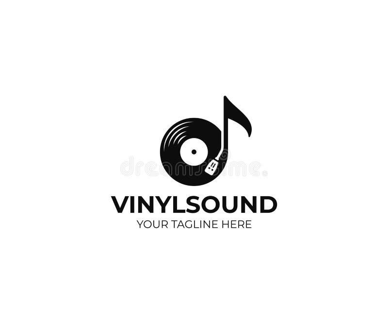 Modello di logo di musica Progettazione di vettore dell'annotazione di vinile e della nota musicale illustrazione vettoriale
