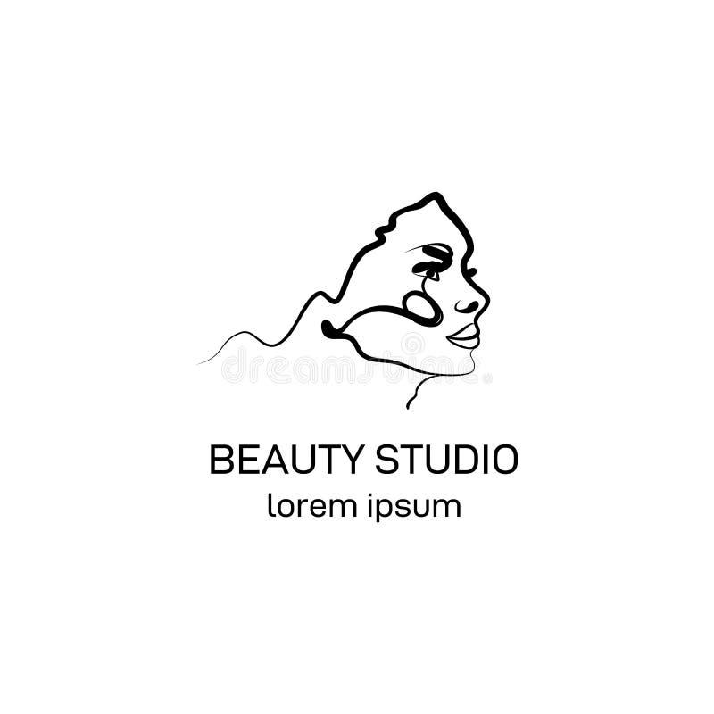 Modello di logo per lo studio di bellezza nello stile d'avanguardia del profilo Schizzo lineare minimalistic dell'estratto illustrazione di stock