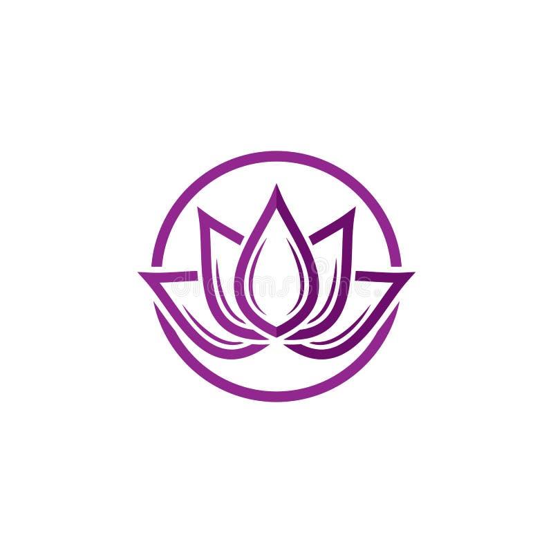 Modello di logo di progettazione dei fiori di Lotus di vettore di bellezza illustrazione vettoriale
