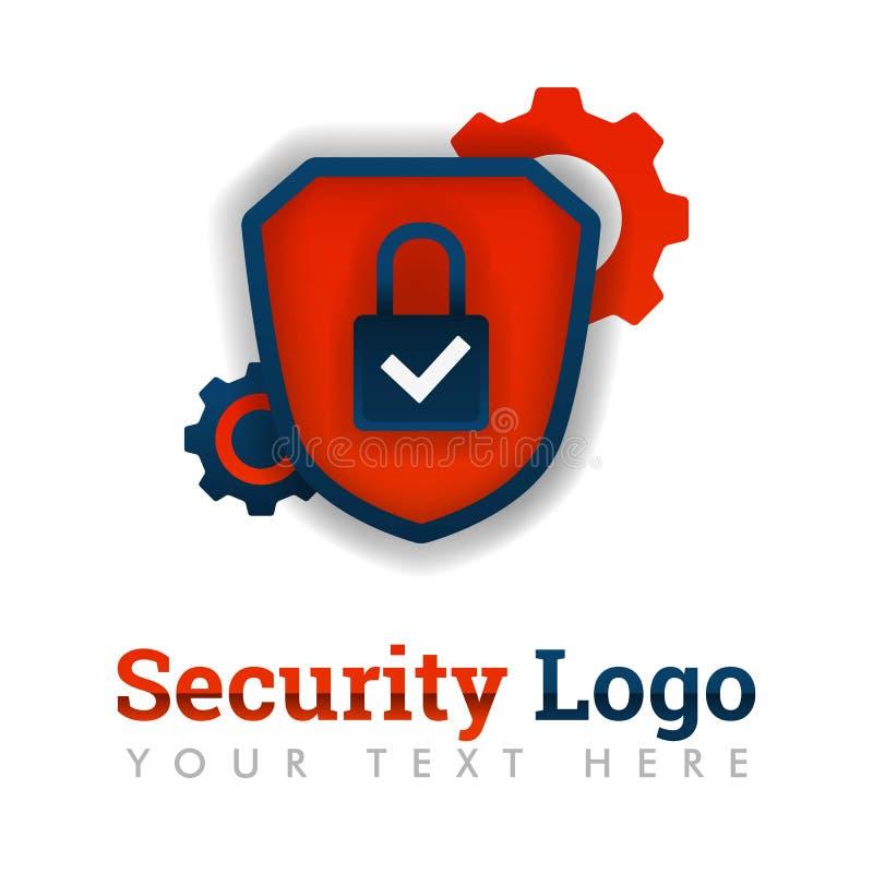 Modello di logo di sicurezza con la serratura, la lista di controllo, lo schermo e l'ingranaggio per costruzione, la consegna, il illustrazione vettoriale