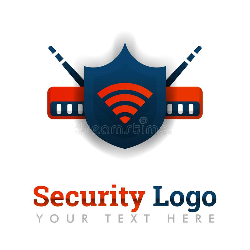 Modello di logo di sicurezza per protezione della rete, Internet sicuro, router industriale, software di rete, internet provider, illustrazione di stock