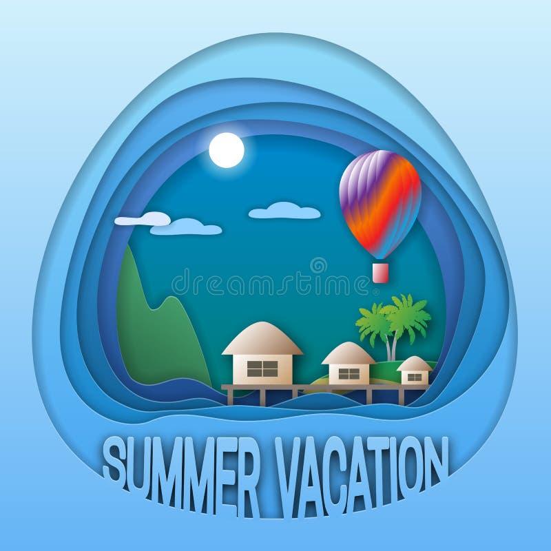 Modello di logo di vacanze estive Località di soggiorno del mare con i bungalow, il pallone, le palme e la montagna illustrazione di stock