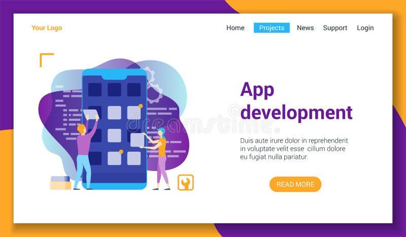 Modello di LP di sviluppo del App illustrazione di stock