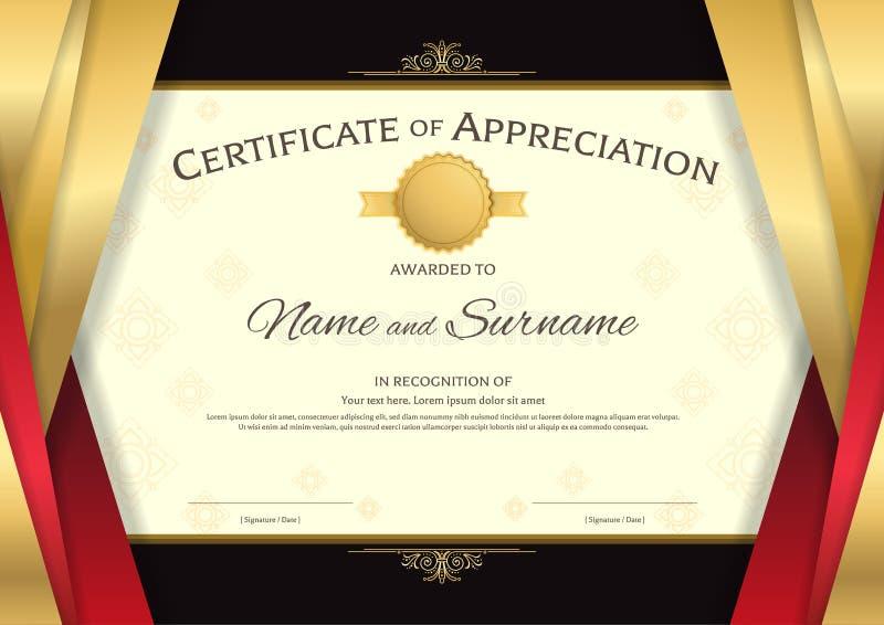Modello di lusso del certificato con il confine rosso e dorato elegante f illustrazione di stock