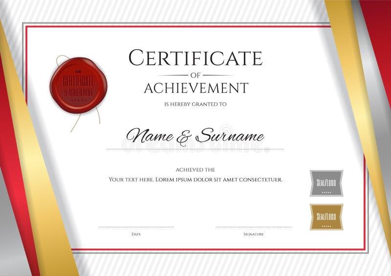 Modello di lusso del certificato con la struttura dorata elegante del confine, Di illustrazione di stock