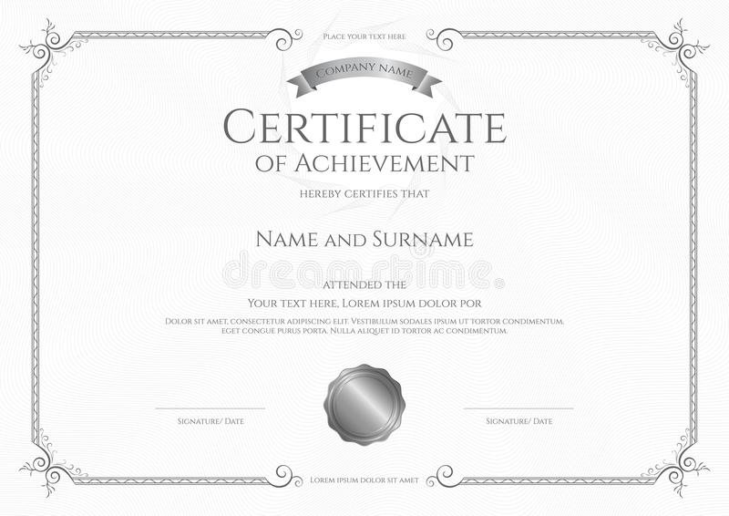 Modello di lusso del certificato con la struttura elegante del confine, progettazione del diploma royalty illustrazione gratis