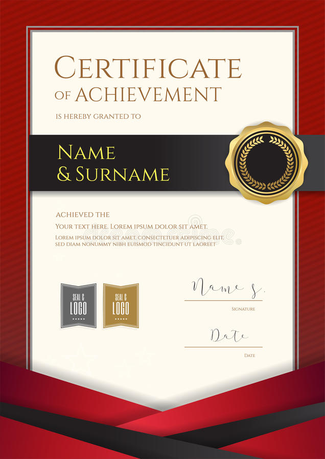 Modello di lusso del certificato del ritratto con il confine rosso elegante fra illustrazione di stock