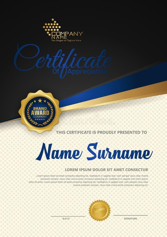 Modello di lusso del certificato del diploma premio con il fondo futuristico ed elegante del modello illustrazione vettoriale