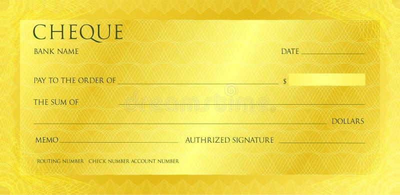 Modello di lusso dell'assegno dell'oro giallo con rabescatura d'annata Controlli con la filigrana astratta, confine Fondo dell'or immagine stock libera da diritti