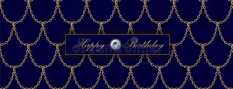 Modello di lusso dell'insegna di vendita della catena dorata Squame blu profonde scure dell'oro Invito commerciale promozionale d illustrazione di stock