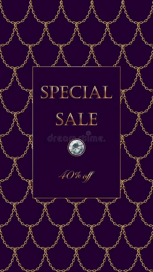 Modello di lusso dell'insegna di vendita della catena dorata Squame rosso-acceso scure dell'oro Invito commerciale promozionale d illustrazione di stock