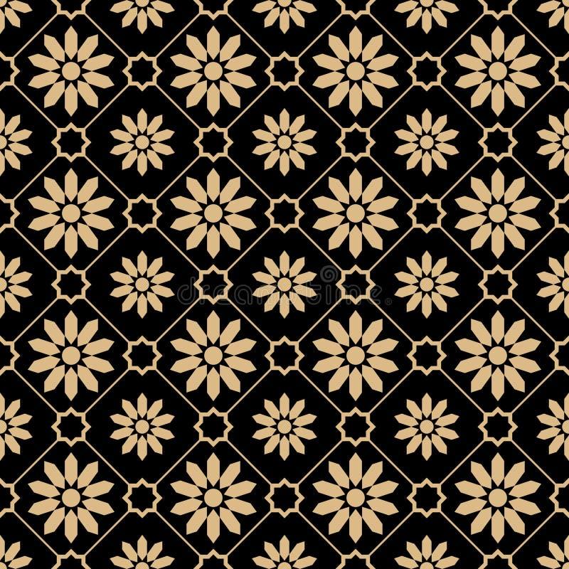 Modello di lusso dell'oro di stile orientale illustrazione di stock