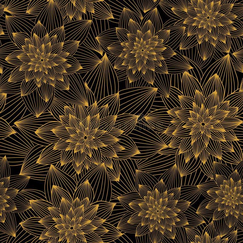 Modello di lusso dorato astratto floreale di vettore senza cuciture Fiori dorati su fondo nero illustrazione vettoriale