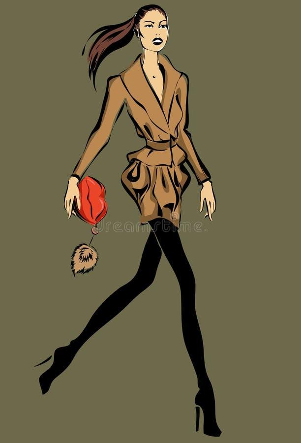 Modello di moda nell'inverno di caduta di stile di schizzo illustrazione vettoriale