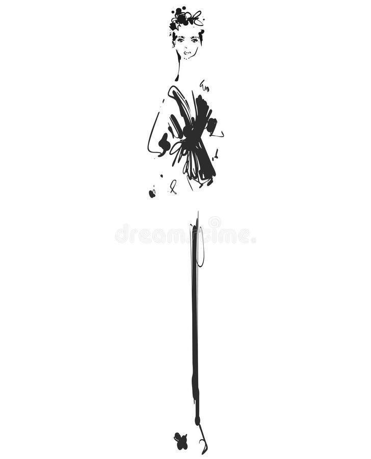 Modello di moda per progettazione Modo, stile, gioventù, bellezza Grafico, disegno di schizzo Donna sexy pantaloni illustrazione vettoriale