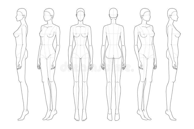 Modello di moda 9 testine per disegno tecnico con linee principali royalty illustrazione gratis