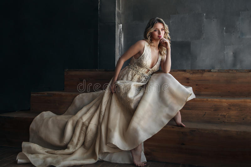 Modello di moda in vestito lungo sui precedenti del metallo immagine stock libera da diritti