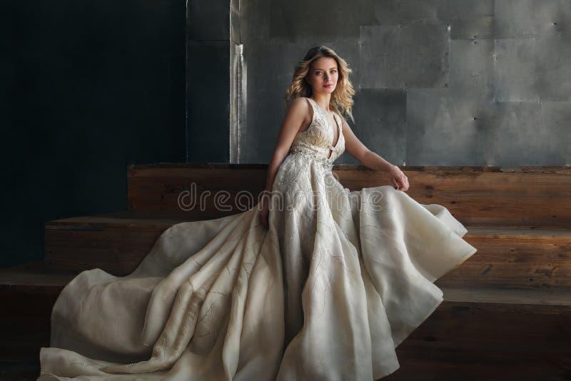 Modello di moda in vestito lungo sui precedenti del metallo immagine stock