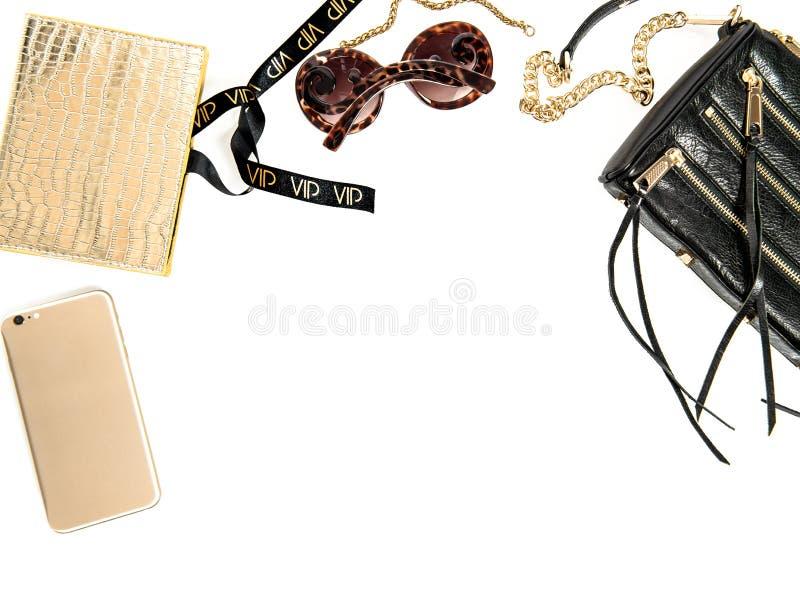 Modello di modo con gli accessori di signora di affari Oggetti femminili fotografia stock libera da diritti