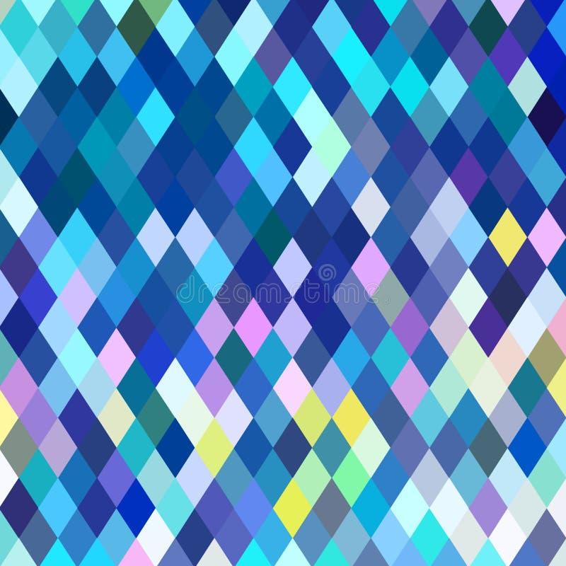 Modello di mosaico blu del cristallo Fondo luminoso dei pixel Illustrazione a quadretti astratta di vetro royalty illustrazione gratis