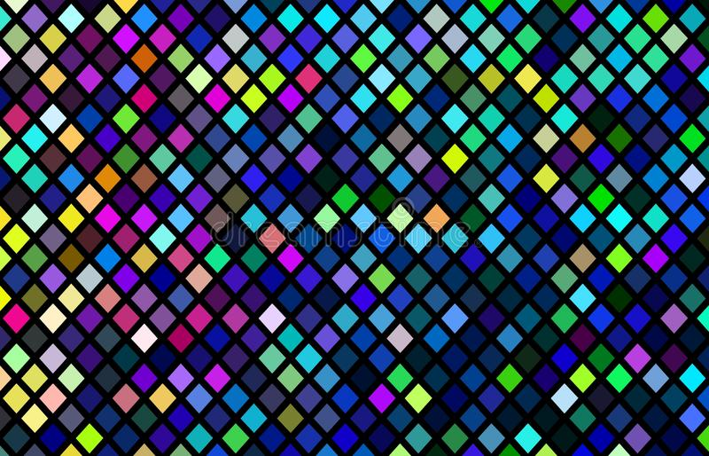 Modello di mosaico multicolore Fondo giallo verde blu dei pixel di rosa Illustrazione intensa creativa dei pixel illustrazione di stock