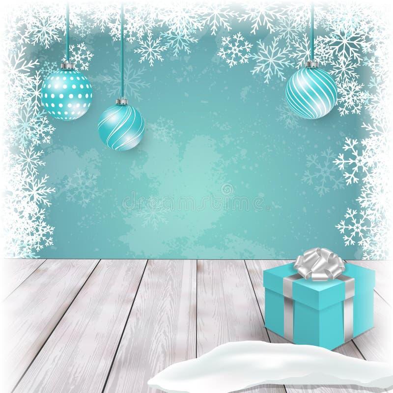 Modello di Natale con gli ornamenti ed il contenitore di regalo sulla tavola Vettore illustrazione di stock