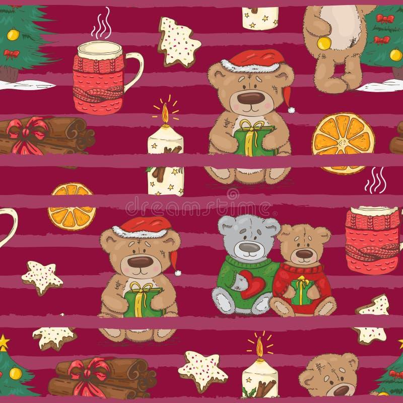Modello di Natale con gli orsacchiotti, i biscotti e le spezie royalty illustrazione gratis
