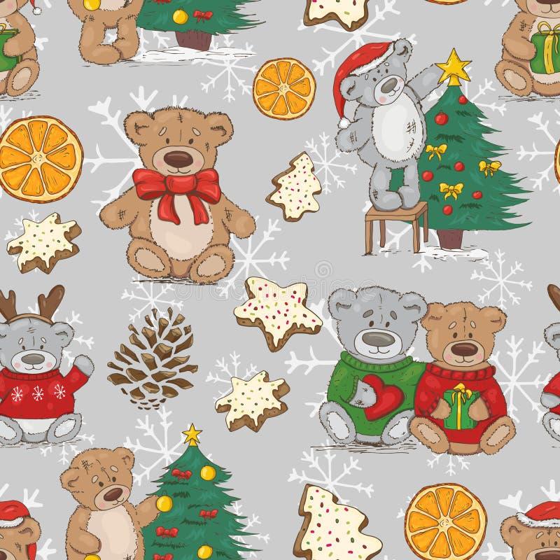 Modello di Natale con gli orsacchiotti, i biscotti e le spezie illustrazione di stock