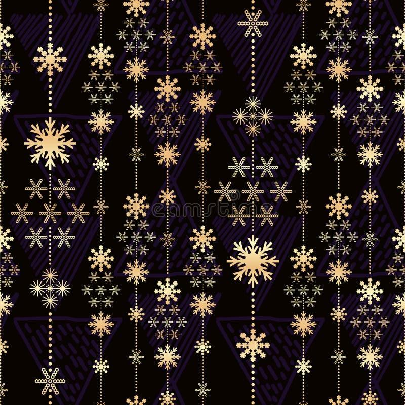 Modello di Natale con i colori di cristallo dell'oro delle bande royalty illustrazione gratis