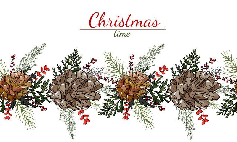 Modello di Natale dei coni, delle foglie e delle bacche su un fondo bianco royalty illustrazione gratis