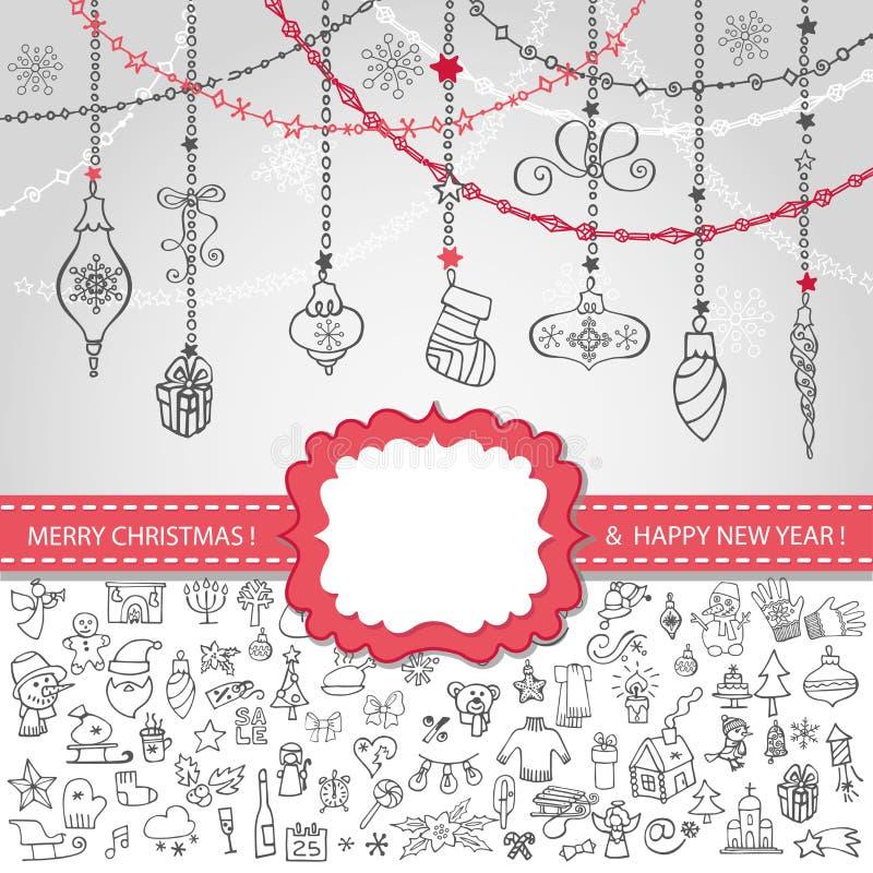 Modello di Natale Icone, etichetta, palle royalty illustrazione gratis