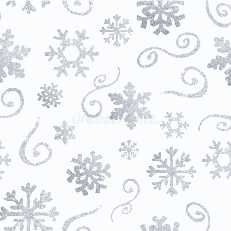 Modello di Natale di inverno con le siluette bianche e d'argento dei fiocchi di neve, bacche, foglie, rami, pupazzo di neve, albe illustrazione di stock