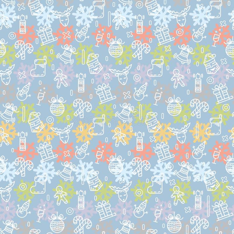 Modello di Natale o del nuovo anno di vettore con il pupazzo di neve, renna, regalo, candela, biscotto illustrazione di stock