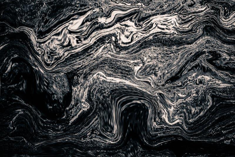 Modello di onda astratto, fondo di marmo grigio scuro di struttura dell'inchiostro fotografie stock libere da diritti