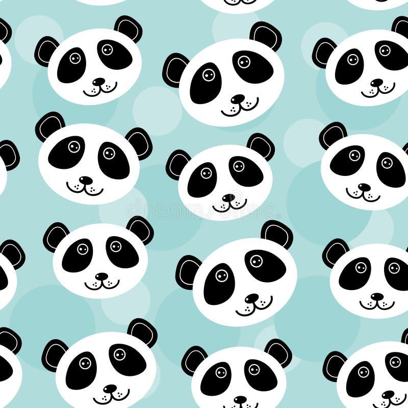 Modello di Panda Seamless con il fronte animale sveglio divertente su un BAC blu illustrazione di stock