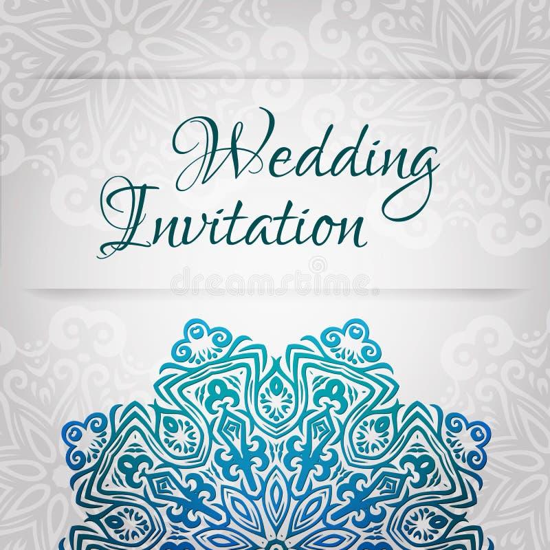Modello di pizzo della partecipazione di nozze di vettore Invito d'annata romantico di nozze Ornamento floreale del cerchio astra illustrazione di stock