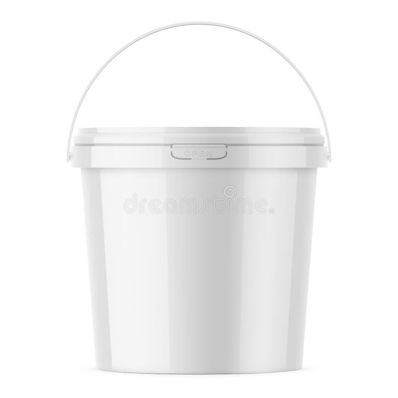 Modello di plastica lucido bianco del modello del secchio illustrazione di stock