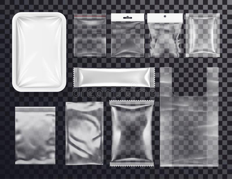 Modello di plastica realistico della borsa della tasca, borsa zippata illustrazione di stock